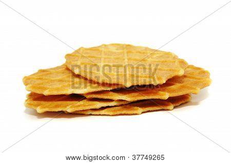 Several crisp butter waffers
