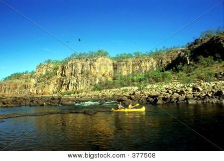 Katherine Gorge And Canoe