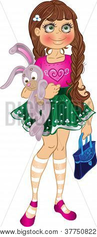girl with yellow bunny and bag