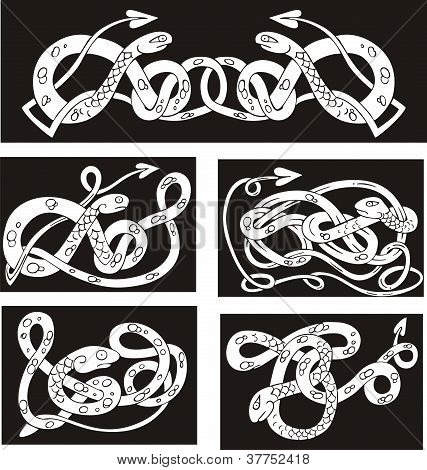 Celtic Knot Patterns With Snakes