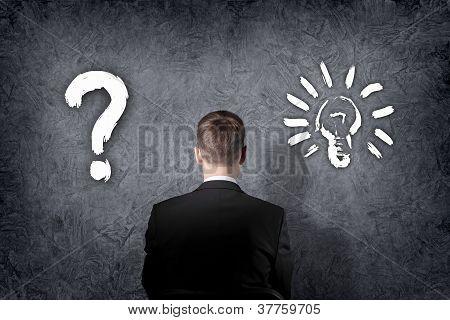 Businessman making a choice