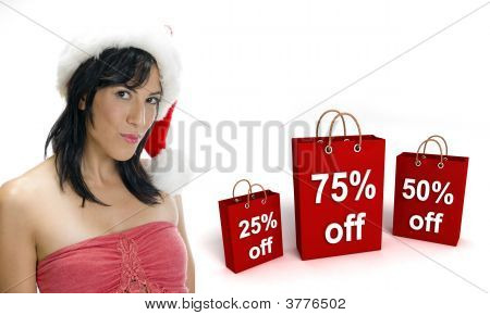 Gorgeous Woman With Santa Cap