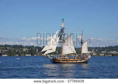 The Ketch, Hawaiian Chieftain, Sails On Lake Washington