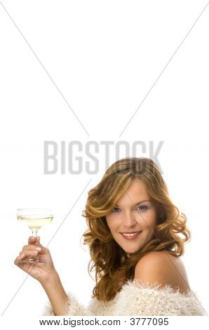 Beautiful Lady Toasting With Champagne