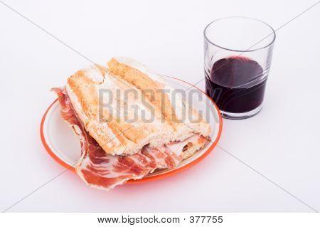 Spanish Sandwich Of Ham With Wine