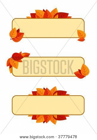 Set of three vector banners with autumn leaves.
