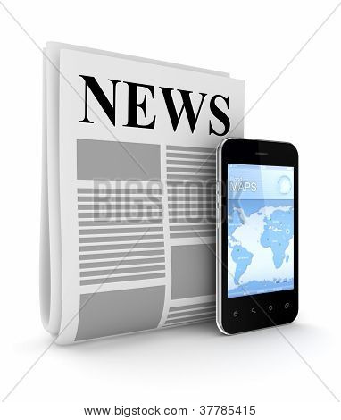 Stylized newspaper and modern mobile phone.