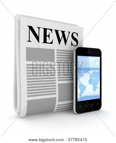 stilisierte Zeitung und modernen Handy.