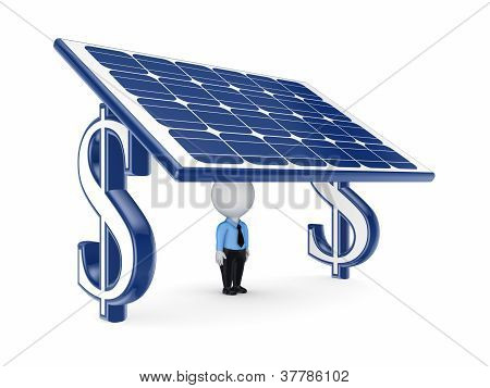 3d small person under solar battery.