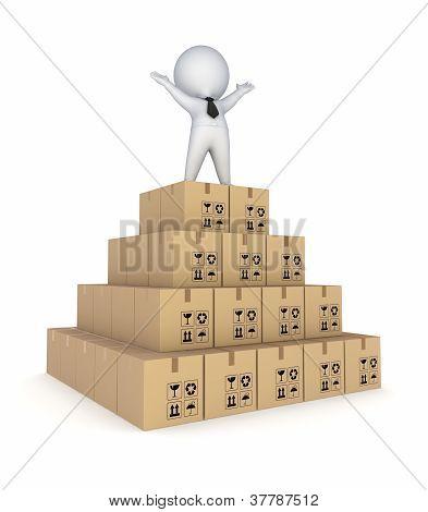 Pyramid made of carton boxes.