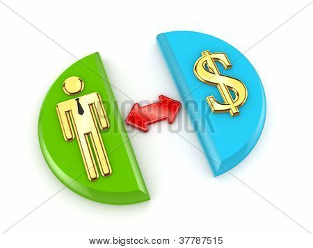 Golden dollar sign, red arrow and 3d small person.