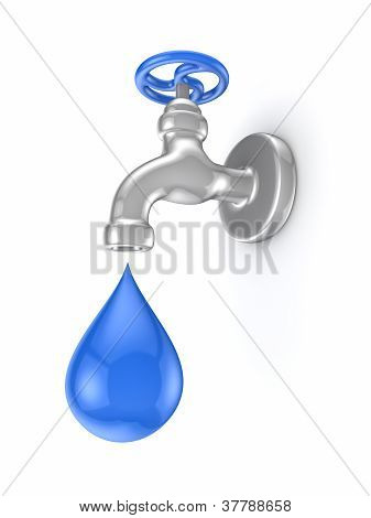 Iron tap and blue drop.