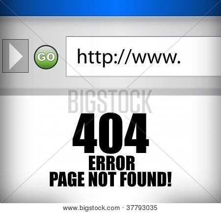 404 Error Page Not Found Browser Illustration
