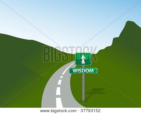 Road To Wisdom Sign And Illustration