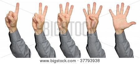 Businessman Counting With Fingers