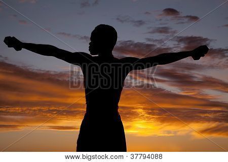 Silhouette Man Straight Arm Weight