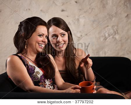 Giggling Women Pointing
