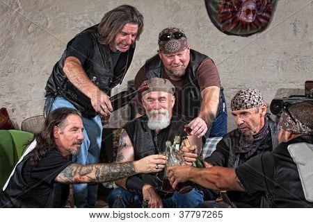 Gang Members Toasting