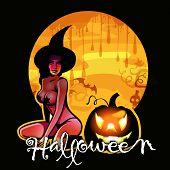Постер, плакат: Хэллоуин ведьмы на Луне