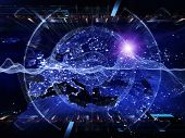 picture of courtesy  - Artistic background made of lights numbers grids and satellite imagery  - JPG