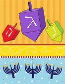 picture of dreidel  - vector illustration of dreidels and menorahs on a colorful background - JPG
