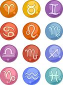 foto of cancer horoscope icon  - Vector Illustration of Zodiac Horoscope Signs Icons Set - JPG