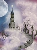 picture of stairway  - fantasy castle in the sky with trees and stairway - JPG