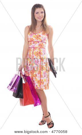 beautiful Brunette mit Taschen.