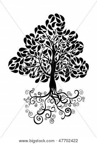 Schwarzer Baum-Symbol