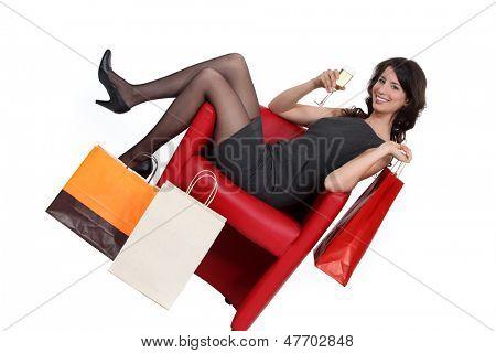 Woman celebrating her shopping