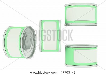 Tin Can, Green Label With Place For Text