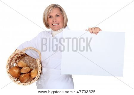 Bakery worker self-advertising