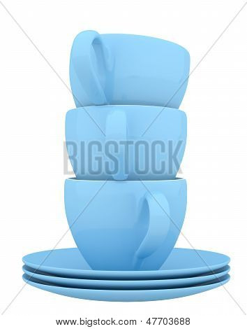 Blue Ceramic Dishes And Cups