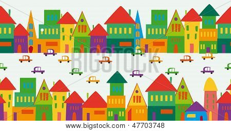 Cute Multicolored City Pattern