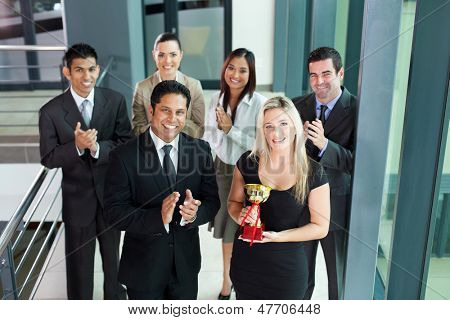 successful business team winning an award