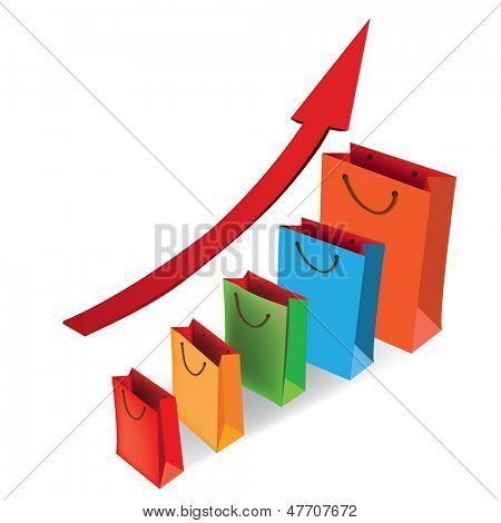Sales growth chart. Presenting a getting better economy and increase of business income from the sale of commodities and services. Vector illustration.
