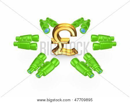 Binoculars around symbol of pound sterling.