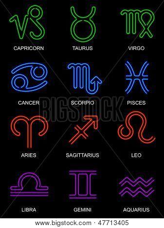 Neon Zodiac Signs