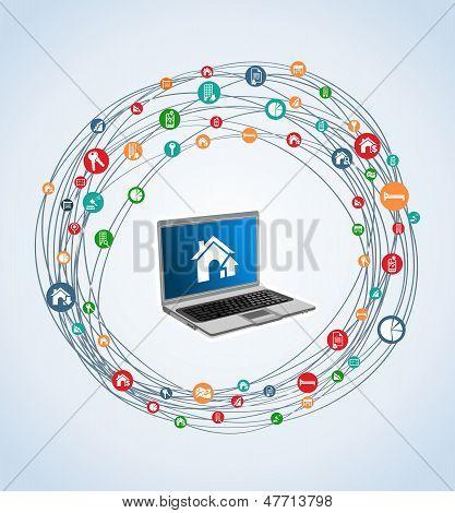 Immobilien Icon Set Laptop