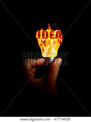 Light Bulb With Fire Inside
