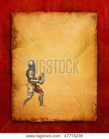 Armored Knight With Sword And Shield - Retro Postcard