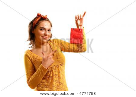 Stylish, Attractive Young Woman Holding Shopping Bag