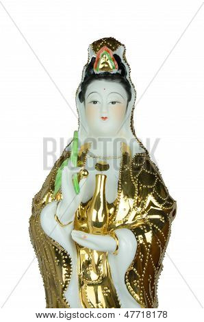 The Guan Yin Statue On White Background