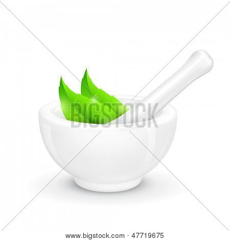 illustration of mortar and pestle with herbal leaf
