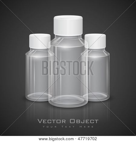 illustration of all purpose transparent bottle with cap