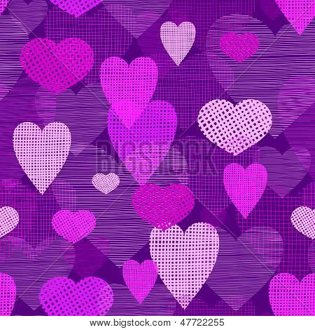 Fabric hearts romantic seamless pattern background
