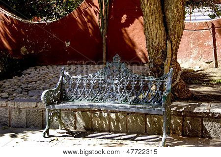 A iron bench in San Miguel de Allende