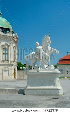 Sculpture Of A Man With Horse Near Upper Belvedere, Vienna, Austria