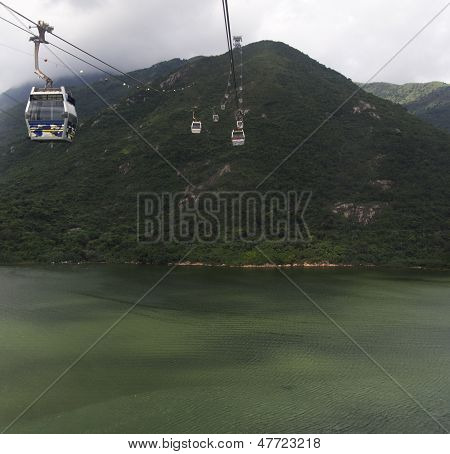 Cable Cars At Lantau Island Hong Kong