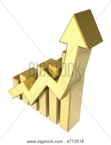 Statistics Graphic In Gold